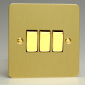 Varilight 3 Gang 1 or 2 Way 10A Rocker Light Switch Ultra Flat Brushed Brass XFB3D